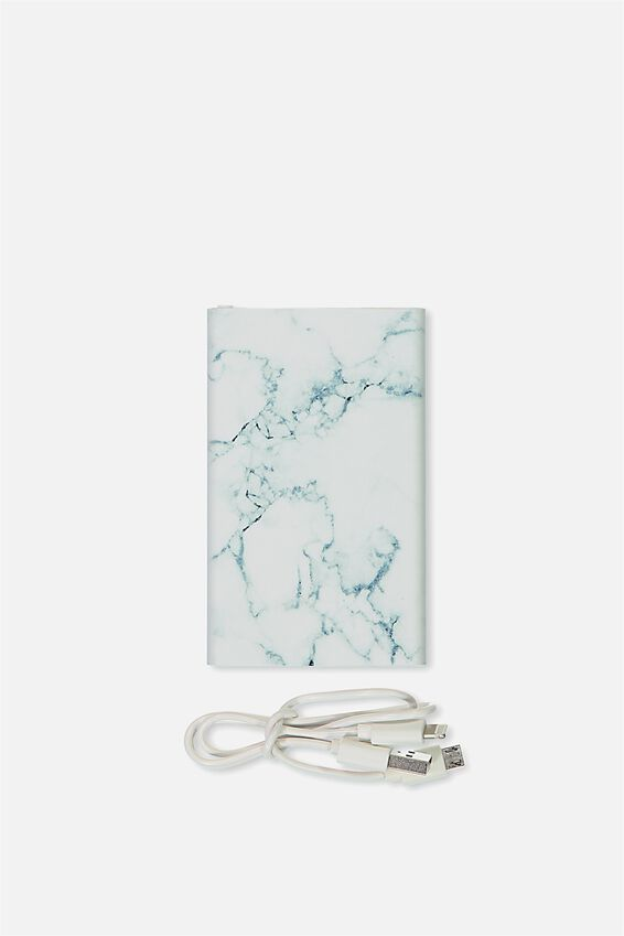 Printed Charge It Charger, BLACK & WHITE MARBLE