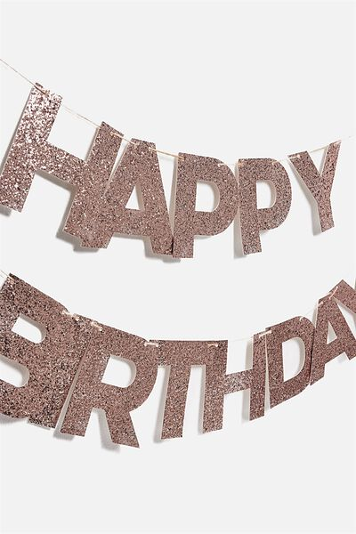 Quote Bunting, ROSE GOLD GLITTER HAPPY BIRTHDAY