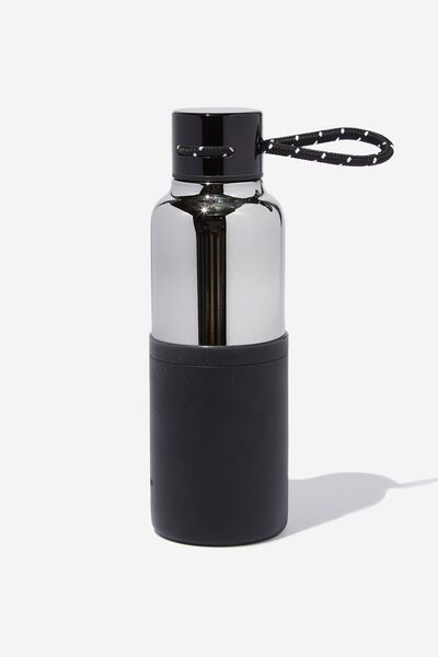The Loop Metal Drink Bottle, GREY & BLACK