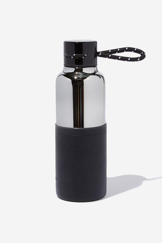 The Loop Metal Drink Bottle, GREY & BLACK