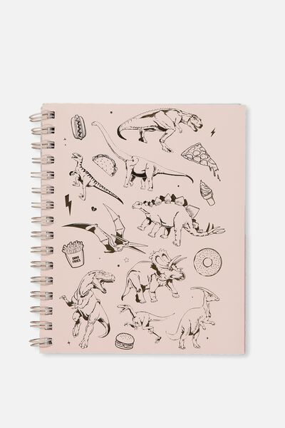 A5 Campus Notebook, PINK DINO PATCHES
