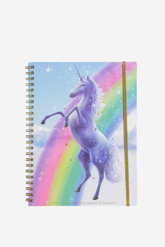 A5 Spinout Notebook - 120 Pages, UNICORNS AND RAINBOWS