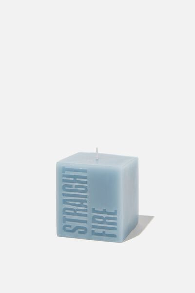 Mini Block Candle, DUSTY BLUE STRAIGHT FIRE