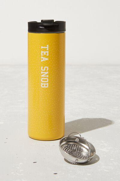 Personalisation Travelling Tea Drinker, MUSTARD POLKA DOT