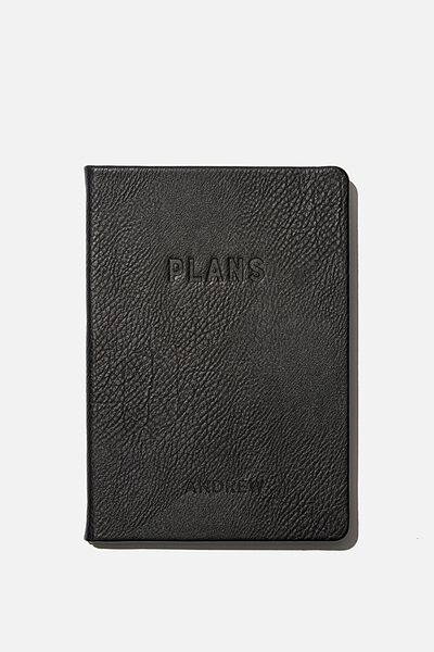Personalised A5 Undated Weekly Buffalo Diary, BLACK
