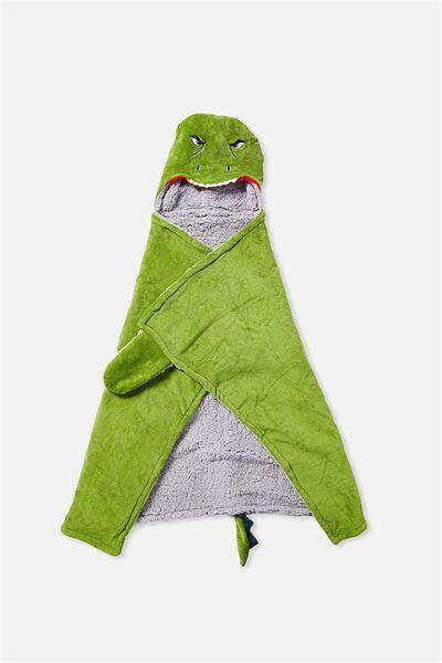 Novelty Hooded Blanket, GREEN DINO