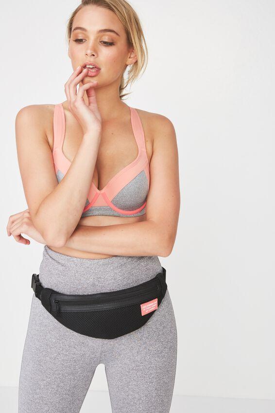 Active Running Belt Bag, BLACK MESH