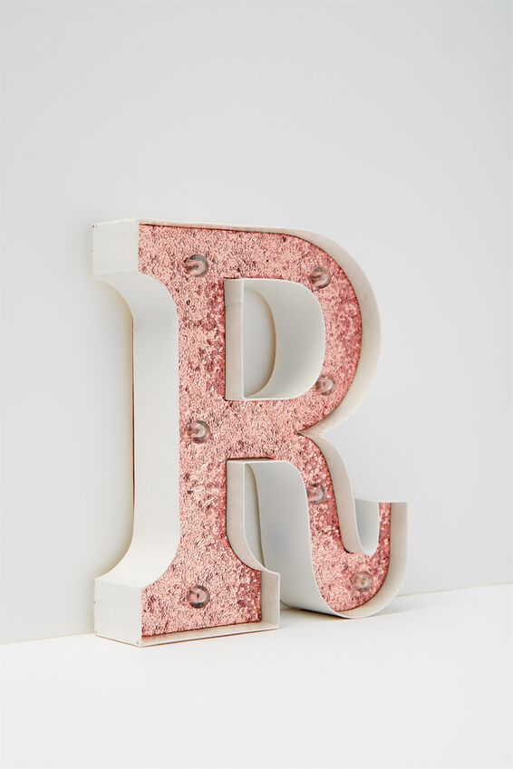 Marquee Letter Lights Premium 6.3inch Midi, WHITE WITH ROSE GOLD R