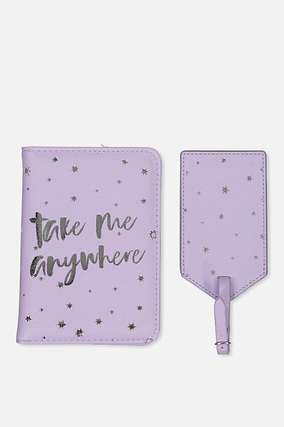 Passport Holder & Luggage Tag Set, LILAC & SILVER