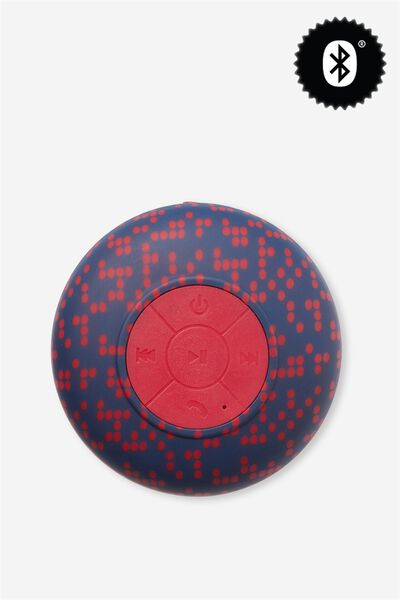 Waterproof Bluetooth Shower Speaker, NAVY AND RED POLKA