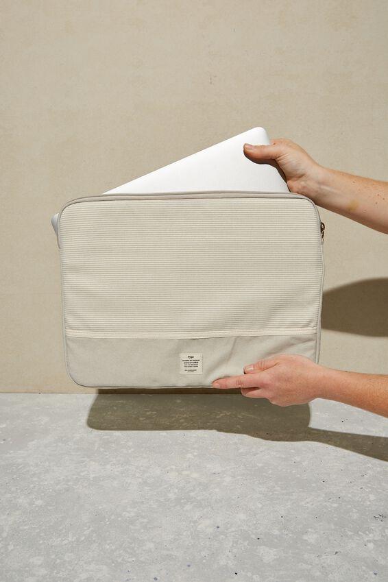 Take Me Away 15 Inch Laptop Case, LIGHT GREY NEUTRAL STRIPES