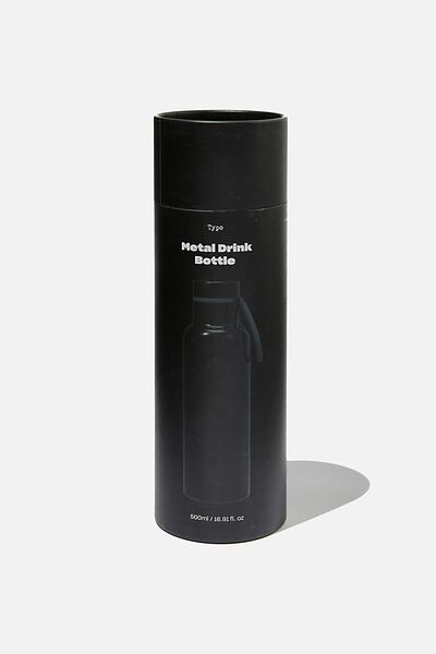 Boxed Metal Drink Bottle, BLACK