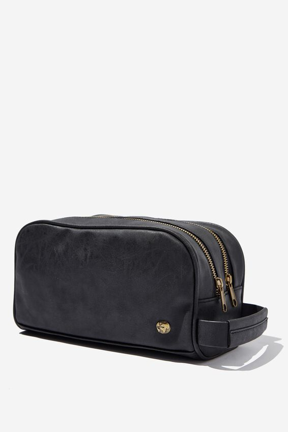 Double Zipper Wash Bag, BLACK
