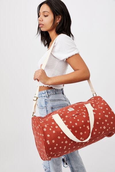 Canvas Barrel Bag, CHARLIE FLORAL RUST