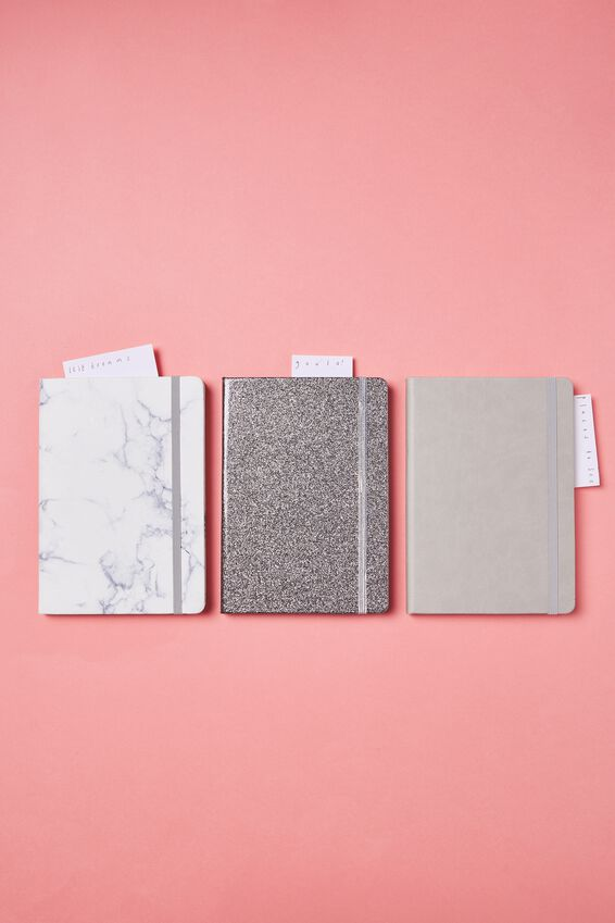 A5 Buffalo Journal, MARBLE WITH GREY ELASTIC