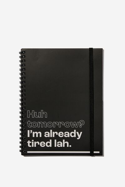 A5 Spinout Notebook Recycled, RG ASIA ALREADY TIRED LAH BLACK