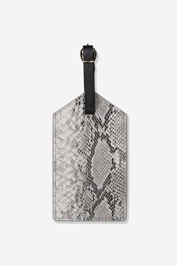 Luggage Tag, BLACK AND WHITE SNAKES