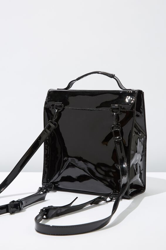 Buffalo Satchel Backpack, PATENT BLACK