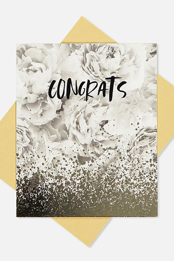 Wedding Card, CONGRATS MARBLE GOLD SPLATTER