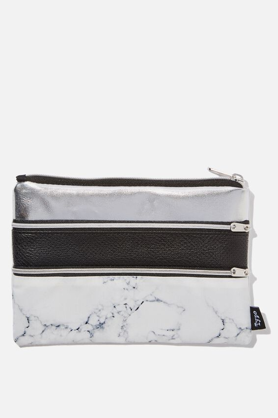 Double Archer Pencil Case, MARBLE SILVER BLACK PERF