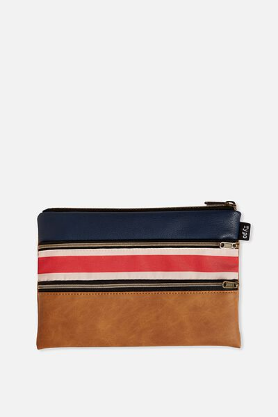 Double Archer Pencil Case, BLUE RED TAN