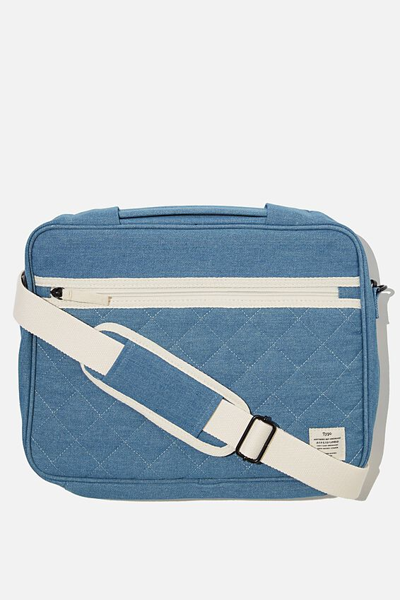 Mobile Desk 13 Inch Dmc, DARK QUILTED DENIM & POP CHECK