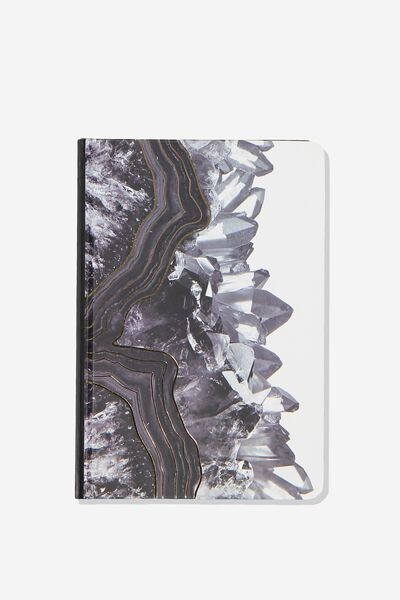 Medium A5 Write Away Journal, BLACK GEODE