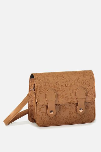 Mini Buffalo Satchel Bag, MID TAN FLORAL