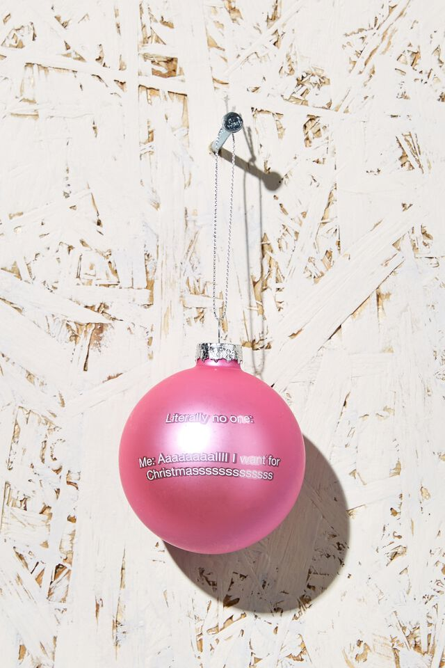Small Glass Christmas Ornament, I WANT FOR CHRISTMAS BAUBLE