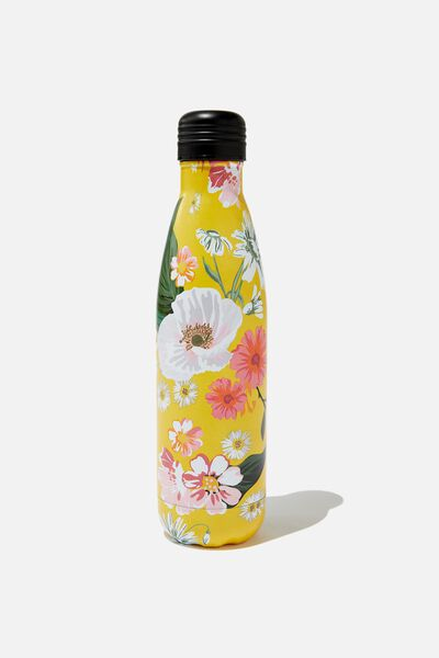 Metal Drink Bottle, YELLOW FLORAL