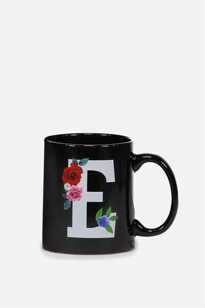 Alphabet Anytime Mug, FLORAL ALPHA E