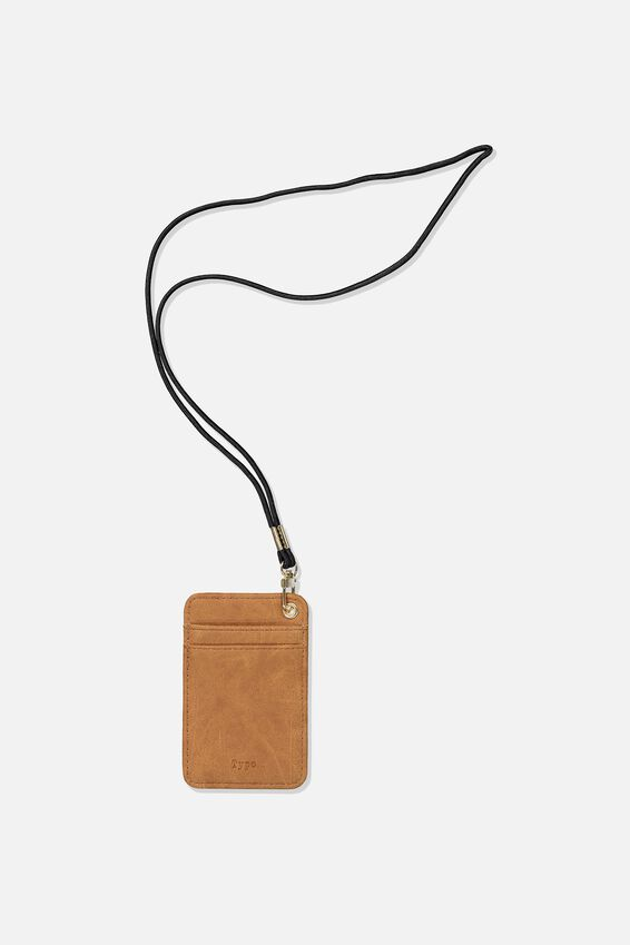 Printed Card Holder, MID TAN
