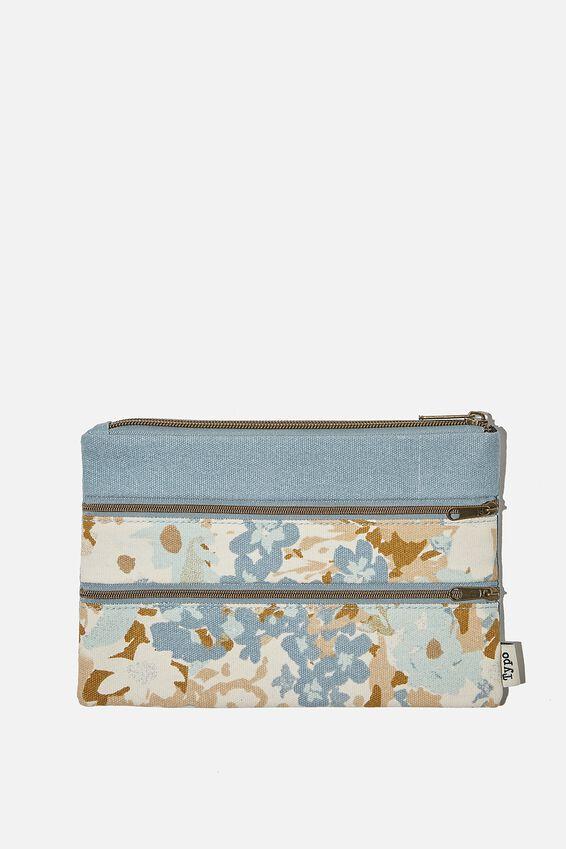 Double Archer Pencil Case, BLUE DAPHNE FLORAL