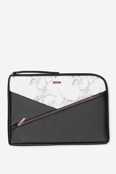 Premium Laptop Case 13 inch, WHITE MARBLE SPLICE
