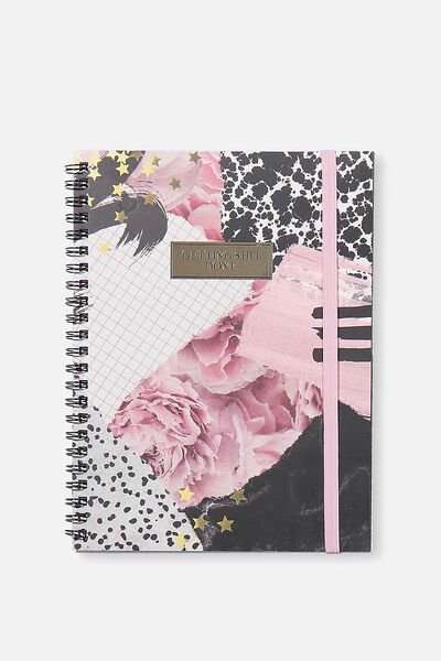 Small Spinout Notebook Usa 8X6, FLORAL COLLAGE