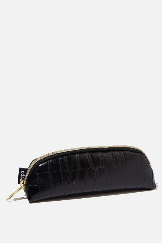 Mini Bailey Pencil Case, BLACK CROC PU