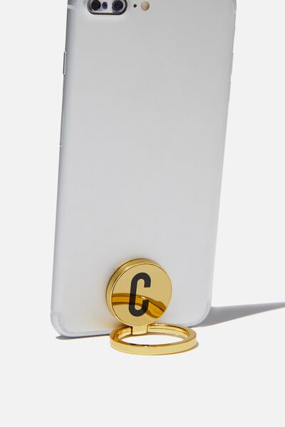 Metal Alpha Phone Ring, GOLD C