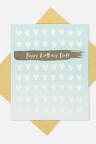 Nice Birthday Card, DIECUT HEART GOLD