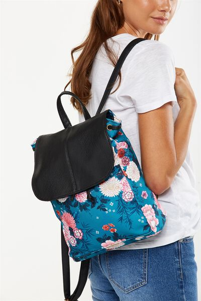 Fold Over Backpack, TEAL FLORAL