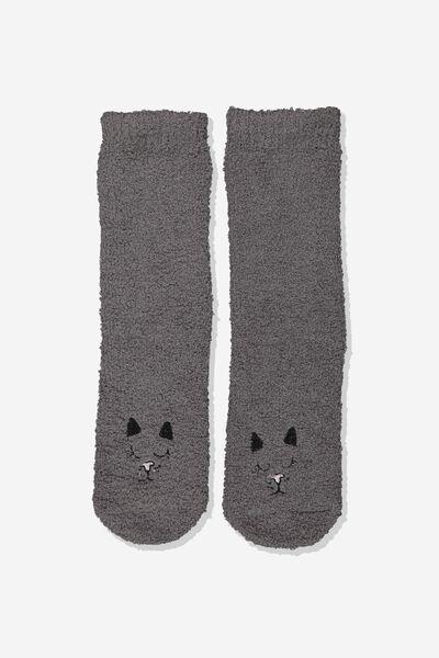 Long Slipper Socks, BLACK CAT