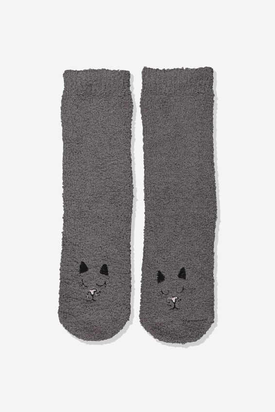 Long Slipper Socks, BLACK CAT