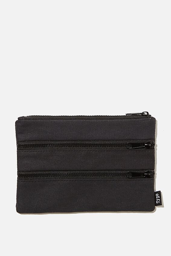 Double Archer Pencil Case, BLACK CANVAS