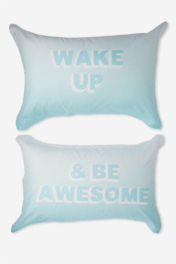 Standard Pillow Case Set, WAKE UP