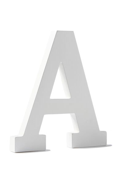Letterpress Wooden Letter, WHITE A