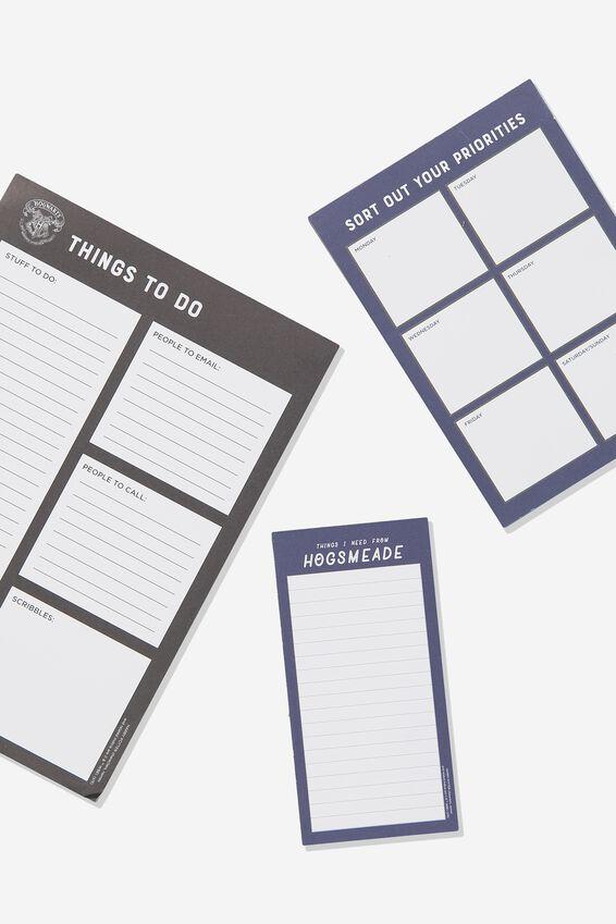 Harry Potter Notepad 3Pk, LCN WB HP HOGWARTS BLACK