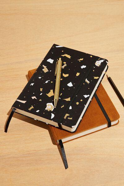 A5 Fabric Undated Weekly Diary, BLACK TERRAZZO