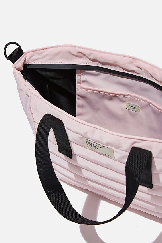 A5 Utility Book Tote Bag, PALE PINK AND BLACK