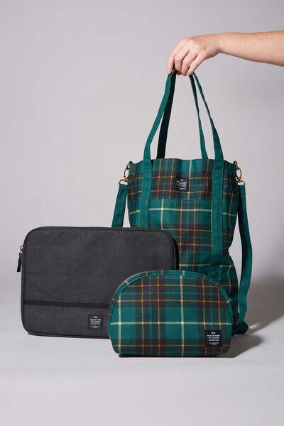 Commuter Gift Set, DEEP GREEN FLANNO CHECK