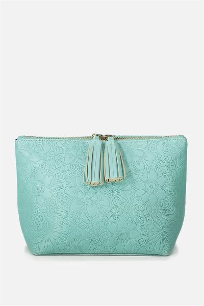 Florence Cosmetic Bag, BLUE FLORAL EMBOSSED
