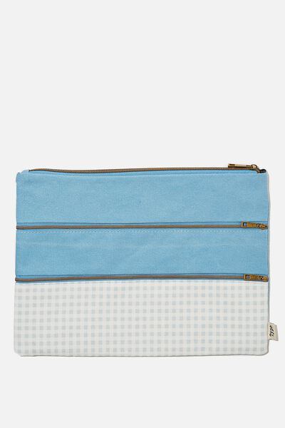 Keep It Together Pencil Case, GINGHAM HYACINTH
